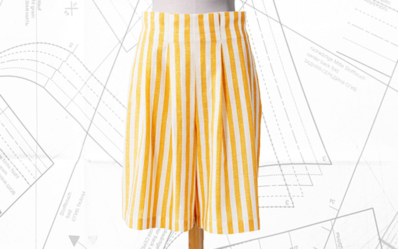 Sewing Lesson: #107A Pleated Bermuda Shorts 07/2019