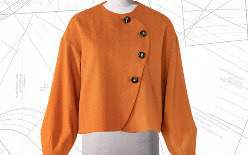 Sewing Lesson: #110 Asymmetrical Cropped Jacket 08/2019