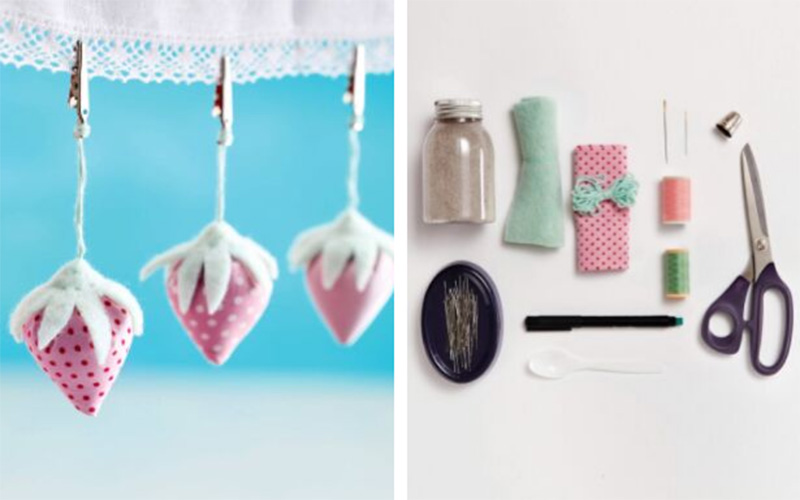 DIY Strawberry Tablecloth Weights